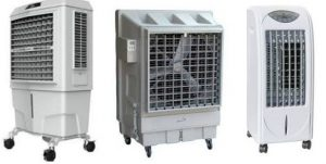 Evaporative portable outdoor air coolers