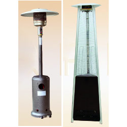 Mushroom patio heater (left), and Pyramid outdoor heater (right) -offered for rental within UAE